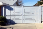 Modern contemporary double steel gate.