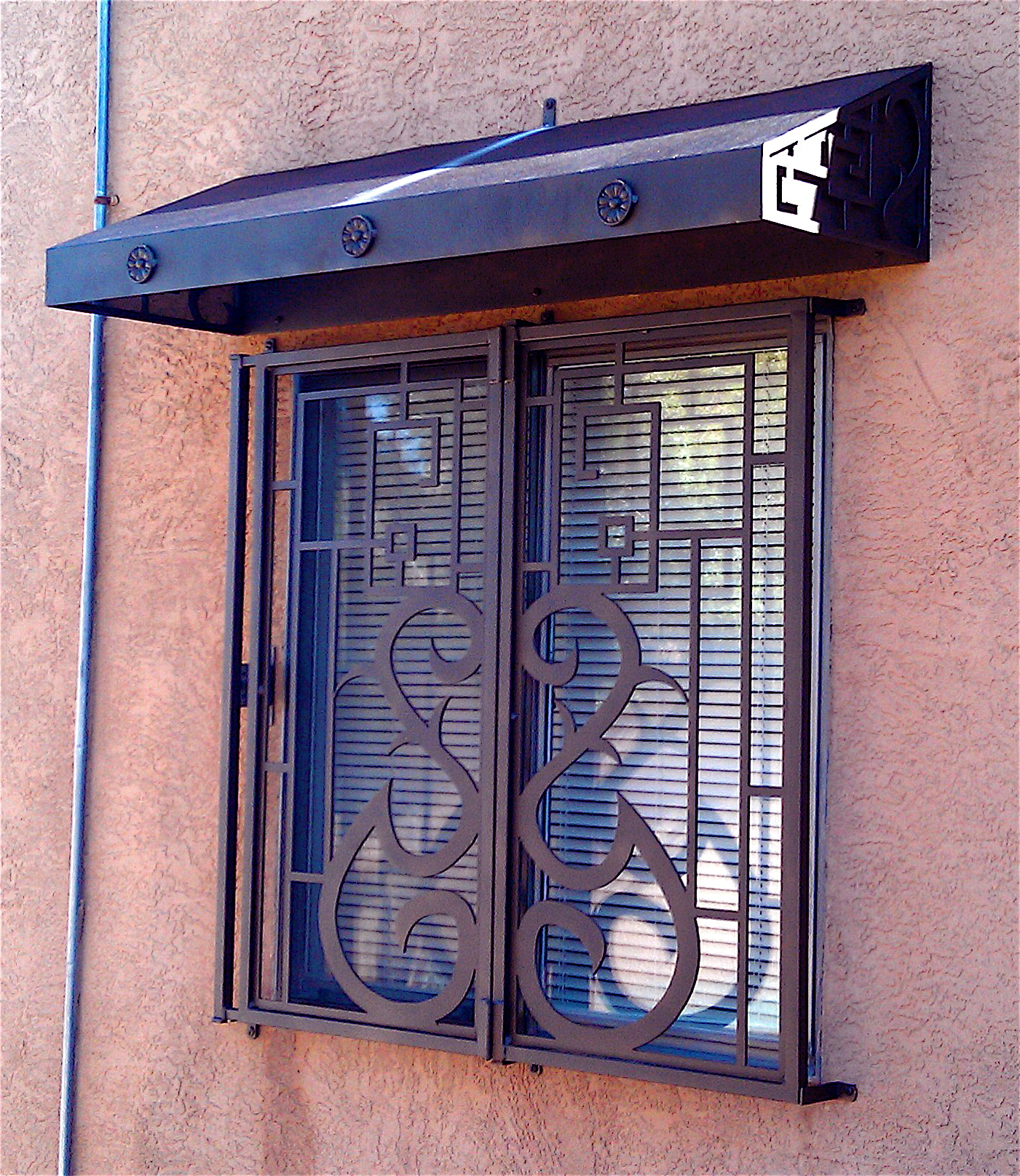 Window guard with awning